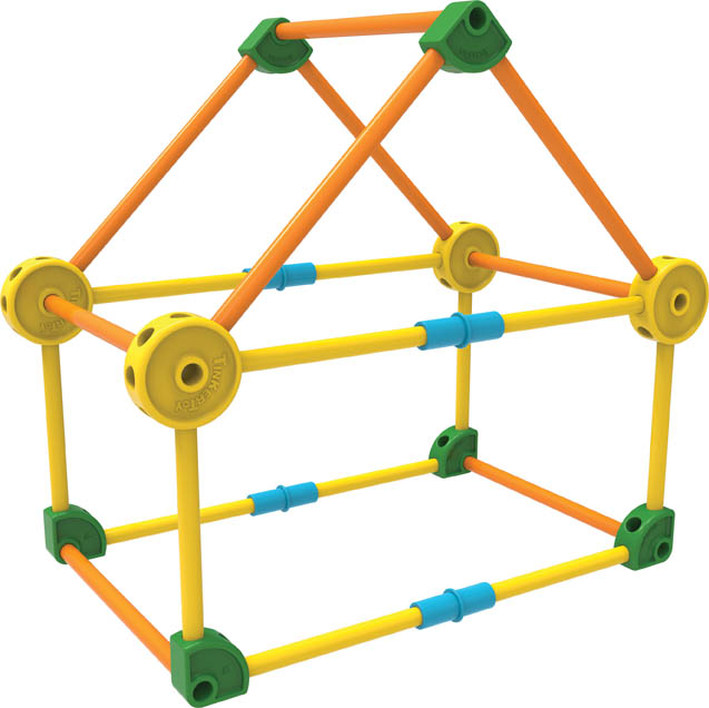 "A crude ""Tinkertoy"" structure."